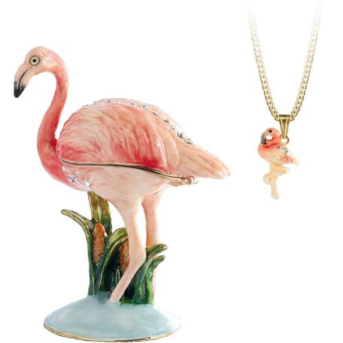 Flamingo Trinket Box and Necklace